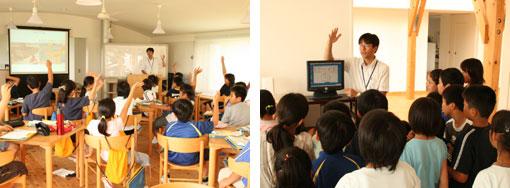 カフェテリアでの授業風景と、OMソーラーの働きがわかるモニターの前での説明。
