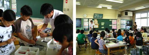 エコパワーキットを組み立てる(左)・教室での授業風景(右)