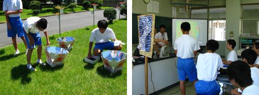 ソーラークッカーによる実験(左)・簾の効用をサーモカメラで確認(右)