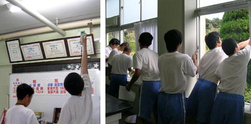(左)蛍光灯の温度を計測 (右)屋外も計測!